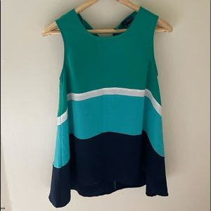 The Limited striped blue green color block Tank